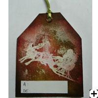 Embossage scrapbooking et encre Distress - Étiquette de Noel
