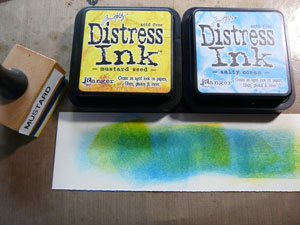 encre distress salty ocean et peeled paint