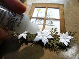 montage poinsettia sur carte de Noel