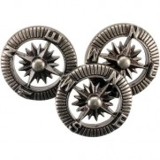 Steampunk Buttons Boussoles argent antique