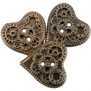 Steampunk Buttons Coeurs or antique