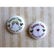 Herazz Badges Sauvez l'eau Buvez du vin