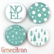 Limecitron Badges Noël turquoise