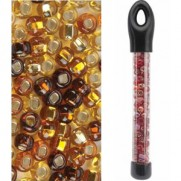 Glass Bead Tubes Gold Mix
