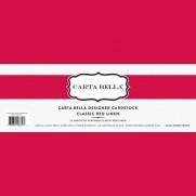 """Carta Bella 80 lb Cardstock 12""""X12"""" Classic Red Linen"""