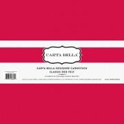 """Carta Bella 80 lb Cardstock 12""""X12"""" Classic Red Felt"""