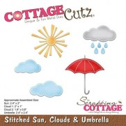 CottageCutz Die Points de Couture Soleil Nuages Parapluie