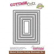CottageCutz Die Stitched Scallop Rectangle