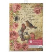 Stamperia Papier de Riz Le Figaro Oiseaux