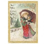 Stamperia Papier de Riz Petite Fille avec un parapluie