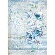 Stamperia Papier de Riz Fleurs Bleues