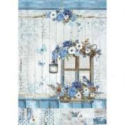 Stamperia Papier de Riz Fenêtre en Bleu