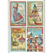 Stamperia Papier de Riz Patchwork Postcards