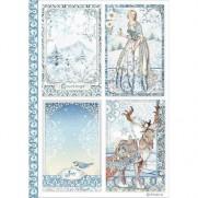 Stamperia Papier de Riz Beautés hivernales bleues