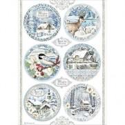 Stamperia Papier de Riz Cercles hivernaux bleus