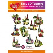 Hearty Crafts 3D toppers Dégustation de Vins
