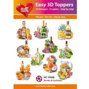 Hearty Crafts 3D toppers Verres & Cocktails