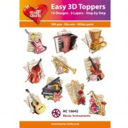 Hearty Crafts 3D toppers Instruments de Musique