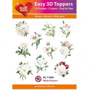 Hearty Crafts 3D toppers Fleurs blanches