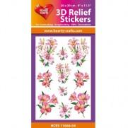 Hearty Crafts Autocollants 3D à relief Fleurs de Lys roses