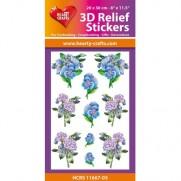 Hearty Crafts Autocollants 3D à relief Bouquets d'oeillets bleus