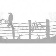 Paper Rose die Oiseau sur une clôture de barbelé