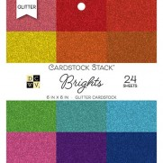 "DCWV Cardstock pad 6""X6"" Brights Glitter Solid"