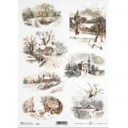 ITD Collection Papier de Riz Maisons en Hiver