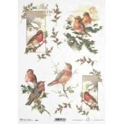 ITD Collection Papier de Riz Oiseaux & Feuilles de Gui