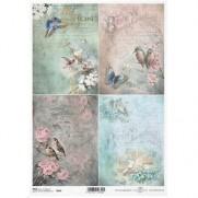 ITD Collection Papier de Riz Oiseaux & Fleurs