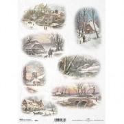 ITD Collection Papier de Riz Images d'hiver