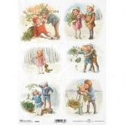 ITD Collection Papier de Riz Enfants retro Noël