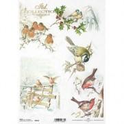 ITD Collection Papier de Riz Oiseaux en Hiver