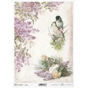 ITD Collection Papier de Riz Oiseaux & Lilas