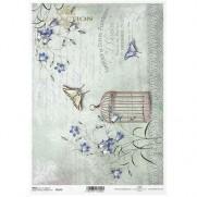 ITD Collection Papier de Riz Papillons & Cage