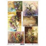 ITD Collection Papier de Riz Bouquets Fleuris