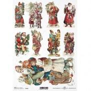 ITD Collection Papier de Riz Père Noël rétro