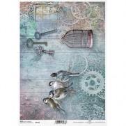 ITD Collection Papier de Riz Oiseaux & Cages