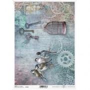 ITD Collection Papier de Riz Oiseaux Steampunk