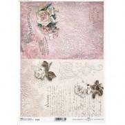 ITD Collection Papier de Riz Roses & Inscriptions