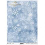 ITD Collection Papier de Riz Flocons en Bleu