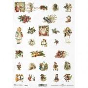 ITD Collection Papier de Riz Petits Graphiques de Noël