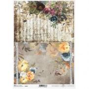 ITD Collection Papier de Riz Notes Musicales & Fleurs