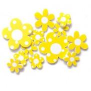 Fleurs en résines jaunes