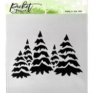 Picket Fence Studios Stencil Sapins enneigés