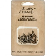 Tim Holtz Brads hexagonaux Antique Nickel, Brass & Cuivre