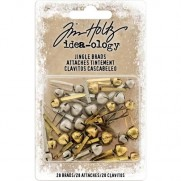 Tim Holtz brads Antique Brass & Argent Jingle Bells