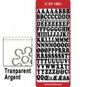 Peel Off Lettres Transparent Argent