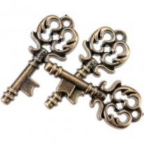Steampunk Buttons Clés or antique