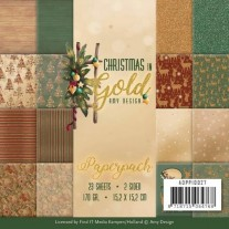 "Amy Design Pad 6""X6"" Christmas In Gold"